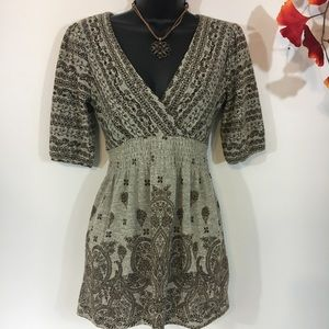 Almost Famous Gray and brown Tunic Sweater Size S